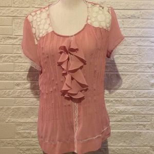 Elementz Crinkle top with ruffles and lace